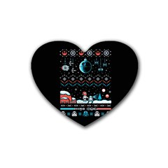 That Snow Moon Star Wars  Ugly Holiday Christmas Black Background Rubber Coaster (Heart)