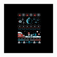 That Snow Moon Star Wars  Ugly Holiday Christmas Black Background Medium Glasses Cloth (2-Side)