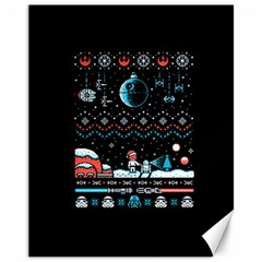 That Snow Moon Star Wars  Ugly Holiday Christmas Black Background Canvas 11  x 14