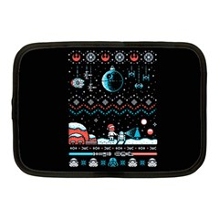 That Snow Moon Star Wars  Ugly Holiday Christmas Black Background Netbook Case (medium)