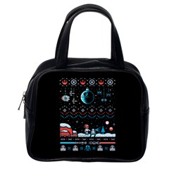 That Snow Moon Star Wars  Ugly Holiday Christmas Black Background Classic Handbags (one Side)