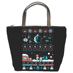 That Snow Moon Star Wars  Ugly Holiday Christmas Black Background Bucket Bags