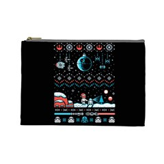 That Snow Moon Star Wars  Ugly Holiday Christmas Black Background Cosmetic Bag (Large)