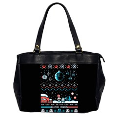That Snow Moon Star Wars  Ugly Holiday Christmas Black Background Office Handbags (2 Sides)