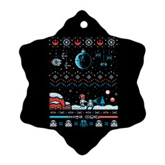 That Snow Moon Star Wars  Ugly Holiday Christmas Black Background Snowflake Ornament (two Sides)