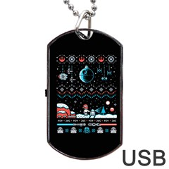 That Snow Moon Star Wars  Ugly Holiday Christmas Black Background Dog Tag Usb Flash (one Side)