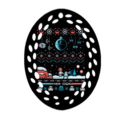 That Snow Moon Star Wars  Ugly Holiday Christmas Black Background Oval Filigree Ornament (Two Sides)