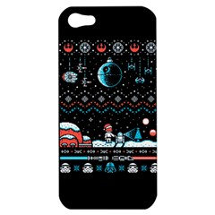 That Snow Moon Star Wars  Ugly Holiday Christmas Black Background Apple Iphone 5 Hardshell Case