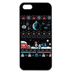 That Snow Moon Star Wars  Ugly Holiday Christmas Black Background Apple iPhone 5 Seamless Case (Black)