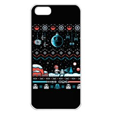 That Snow Moon Star Wars  Ugly Holiday Christmas Black Background Apple iPhone 5 Seamless Case (White)