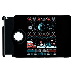 That Snow Moon Star Wars  Ugly Holiday Christmas Black Background Apple Ipad 3/4 Flip 360 Case