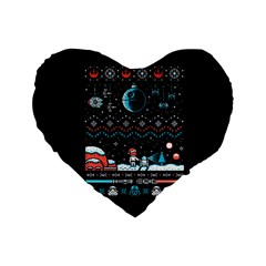 That Snow Moon Star Wars  Ugly Holiday Christmas Black Background Standard 16  Premium Heart Shape Cushions