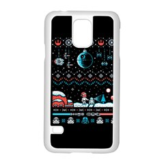 That Snow Moon Star Wars  Ugly Holiday Christmas Black Background Samsung Galaxy S5 Case (white)