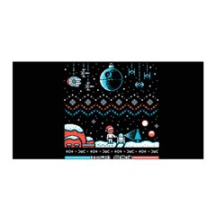 That Snow Moon Star Wars  Ugly Holiday Christmas Black Background Satin Wrap