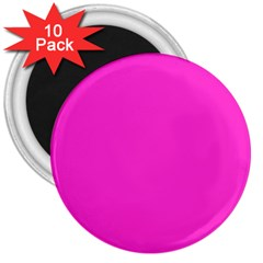 Neon Color - Light Brilliant Fuchsia 3  Magnets (10 pack)