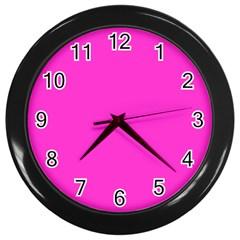 Neon Color - Light Brilliant Fuchsia Wall Clocks (Black)