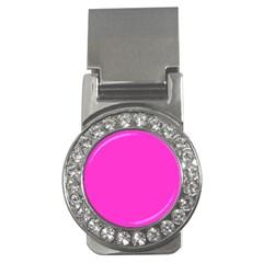 Neon Color - Light Brilliant Fuchsia Money Clips (CZ)