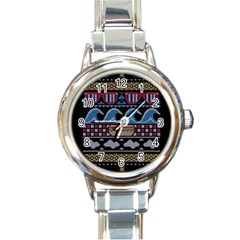Ugly Summer Ugly Holiday Christmas Black Background Round Italian Charm Watch