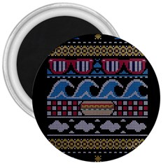 Ugly Summer Ugly Holiday Christmas Black Background 3  Magnets