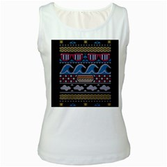 Ugly Summer Ugly Holiday Christmas Black Background Women s White Tank Top