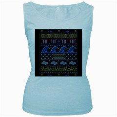 Ugly Summer Ugly Holiday Christmas Black Background Women s Baby Blue Tank Top
