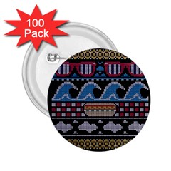 Ugly Summer Ugly Holiday Christmas Black Background 2.25  Buttons (100 pack)