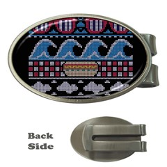 Ugly Summer Ugly Holiday Christmas Black Background Money Clips (oval)