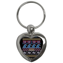 Ugly Summer Ugly Holiday Christmas Black Background Key Chains (Heart)