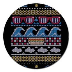Ugly Summer Ugly Holiday Christmas Black Background Magnet 5  (round)