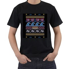 Ugly Summer Ugly Holiday Christmas Black Background Men s T-Shirt (Black) (Two Sided)