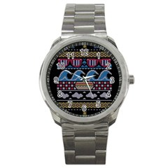 Ugly Summer Ugly Holiday Christmas Black Background Sport Metal Watch
