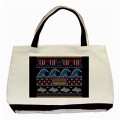 Ugly Summer Ugly Holiday Christmas Black Background Basic Tote Bag