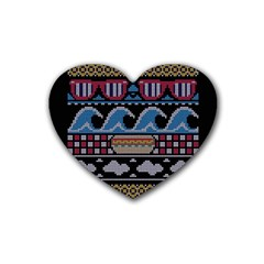 Ugly Summer Ugly Holiday Christmas Black Background Rubber Coaster (Heart)