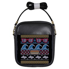 Ugly Summer Ugly Holiday Christmas Black Background Girls Sling Bags