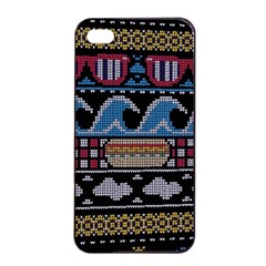 Ugly Summer Ugly Holiday Christmas Black Background Apple iPhone 4/4s Seamless Case (Black)