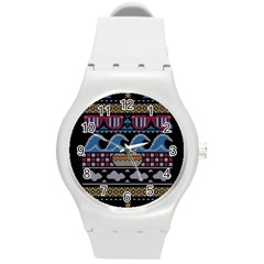Ugly Summer Ugly Holiday Christmas Black Background Round Plastic Sport Watch (M)