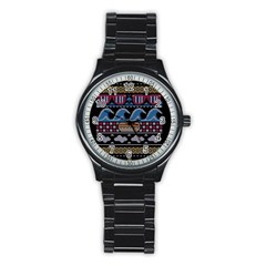 Ugly Summer Ugly Holiday Christmas Black Background Stainless Steel Round Watch