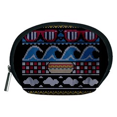 Ugly Summer Ugly Holiday Christmas Black Background Accessory Pouches (medium)