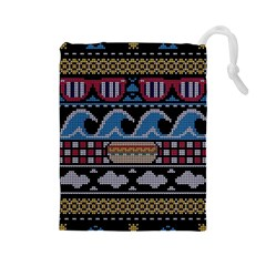 Ugly Summer Ugly Holiday Christmas Black Background Drawstring Pouches (Large)