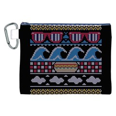 Ugly Summer Ugly Holiday Christmas Black Background Canvas Cosmetic Bag (XXL)