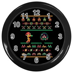 We Wish You A Metroid Christmas Ugly Holiday Christmas Black Background Wall Clocks (Black)