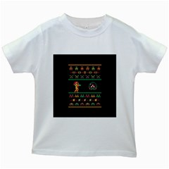We Wish You A Metroid Christmas Ugly Holiday Christmas Black Background Kids White T-Shirts