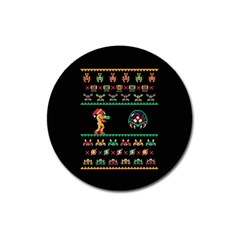 We Wish You A Metroid Christmas Ugly Holiday Christmas Black Background Magnet 3  (round)