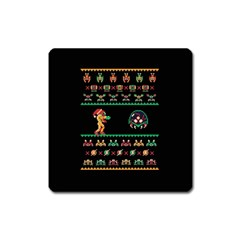 We Wish You A Metroid Christmas Ugly Holiday Christmas Black Background Square Magnet