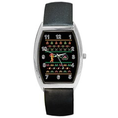 We Wish You A Metroid Christmas Ugly Holiday Christmas Black Background Barrel Style Metal Watch