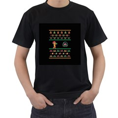 We Wish You A Metroid Christmas Ugly Holiday Christmas Black Background Men s T-Shirt (Black) (Two Sided)