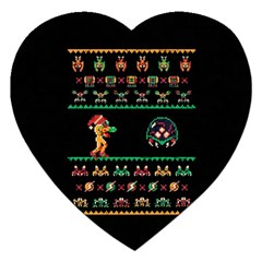 We Wish You A Metroid Christmas Ugly Holiday Christmas Black Background Jigsaw Puzzle (heart)