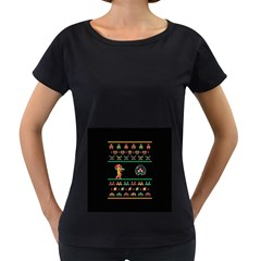 We Wish You A Metroid Christmas Ugly Holiday Christmas Black Background Women s Loose-Fit T-Shirt (Black)
