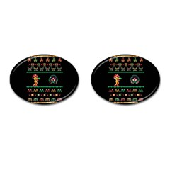 We Wish You A Metroid Christmas Ugly Holiday Christmas Black Background Cufflinks (Oval)