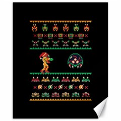 We Wish You A Metroid Christmas Ugly Holiday Christmas Black Background Canvas 16  x 20